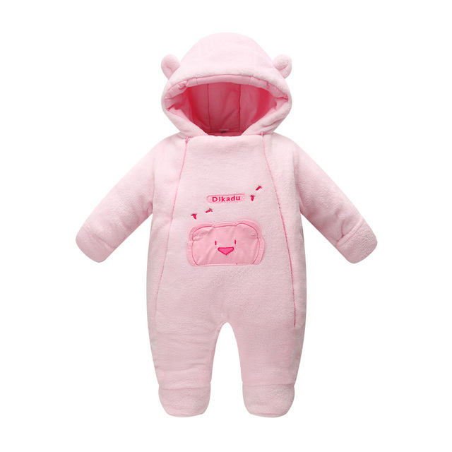 Novelty 2017 winter baby coats soft fleece jumpsuits for newborn baby girl jacket white pink bear baby clothing for infants