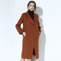 2017 Winte 100 Pure Wool Handmade Double Sided Copper Buckle Long Coat Keep Warm Thin Slim