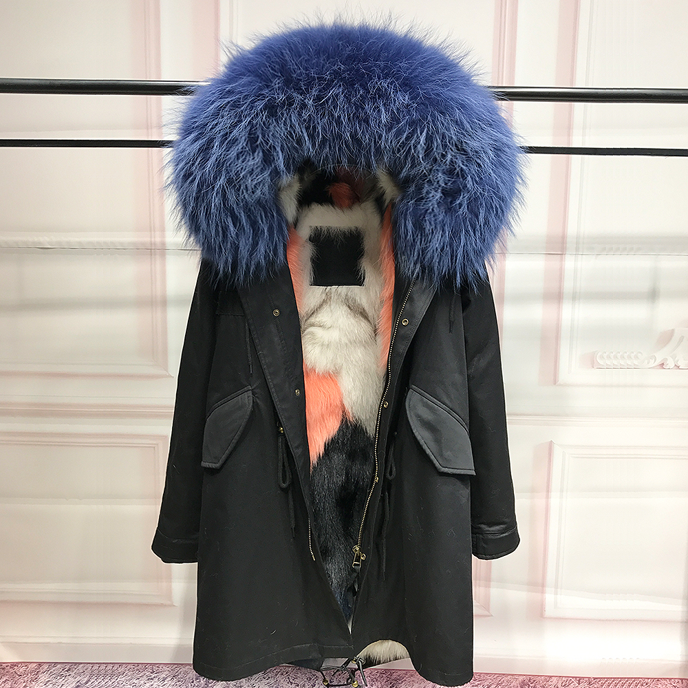 High qualityReal Fox Fur Liner winter jacket women parka real fur coat natural raccoon fur collar hooded parkas thick outerwear