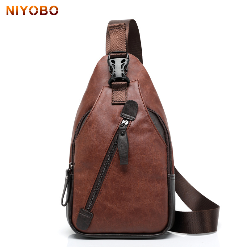 New Men Messenger Bags Leather Chest Pack Vintage Leather Men's Travel Single Shoulder Bag Waterproof Rucksack Sacoche Homme