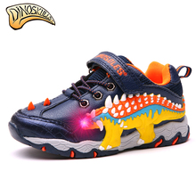 Dinoskulls 2019 Children Glowing Sneakers Boy Sports Light Up Shoes Kid Led Shoes Dinosaur Sneakers Trainers Shoes 27-34#
