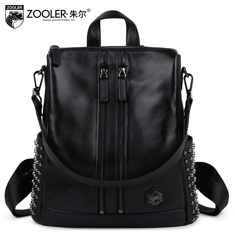 ZOOLER Brand Women Rivet Genuine Leather Backpacks 2017 Winter Fashion Multifunctional Large Capacity Backpack Mochila Feminina zooler genuine leather backpacks 2016 new real leather backpack for men famous brand china hot large capacity hot 65055