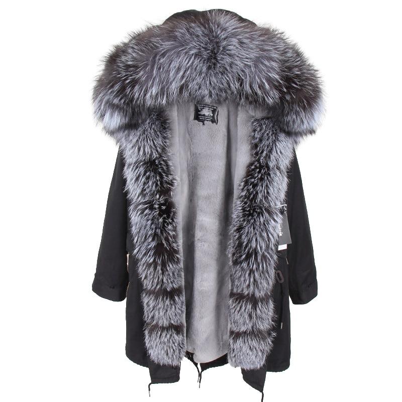 Women Winter Coats 2018 Natural Super Large Fox Fur Collar Hooded Jacket   Parkas   Big Fox Fur Collar Park Thick Warm Overcoat
