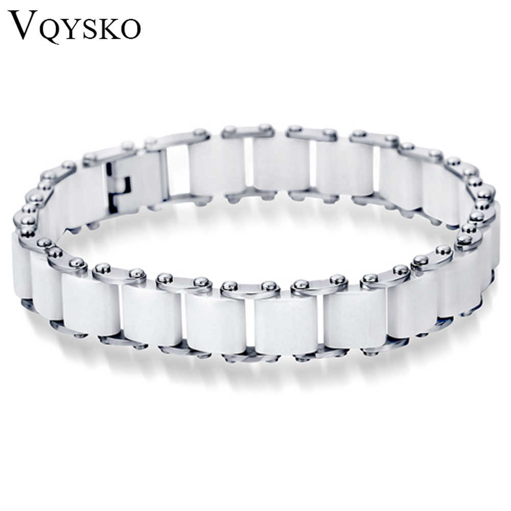 Fashion White/Black Ceramic Wrap Bracelet &Bangle For Men Women 12mm Width Stainless Steel Charm Bracelet