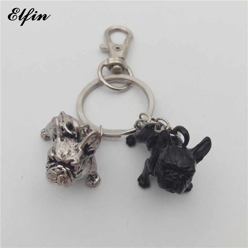 Elfin อินเทรนด์ภาษาฝรั่งเศส Bulldog พวงกุญแจแฟชั่นสัตว์เลี้ยง Memorial ฝรั่งเศส Bulldog Keychains Key แหวน