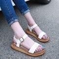 Женщина лаконичный сандалии натуральная кожа лежа пятки открытый носок платформа сандалии женское лежа size34-43