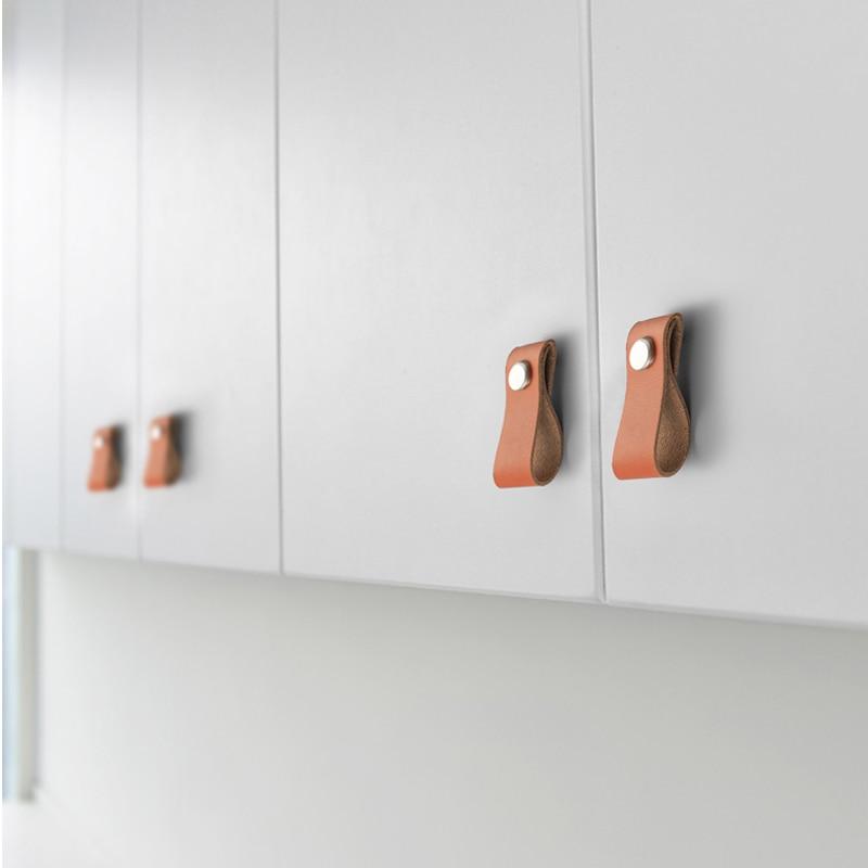 Ручная работа кожаная ручка Европа Стиль Мягкая Минималистичная дверь шкаф ящик тумба кухонного шкафа ручки для мебели оборудование