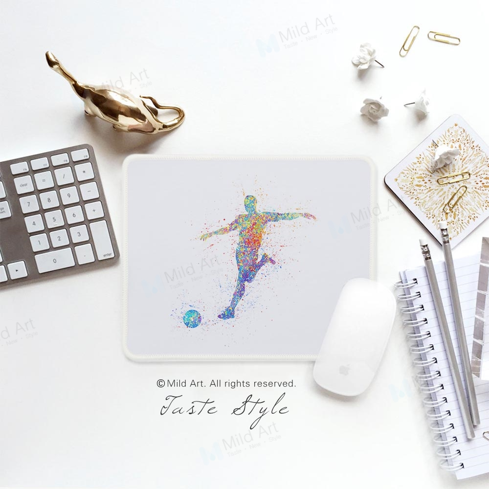 Watercolor Soccer Football Figure Sports Player Print Unique Creative Man Gifts PC Desk Gamer Gaming Computer Mouse Pad Mat Set