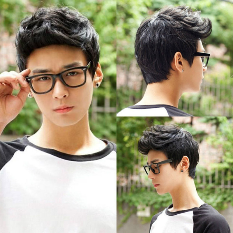 Cheap Short Natural Black Synthetic Wigs For Men Handsome Cool Korean Men Wigs Hair Synthetic Short Cosplay Hair Wigs Peruca