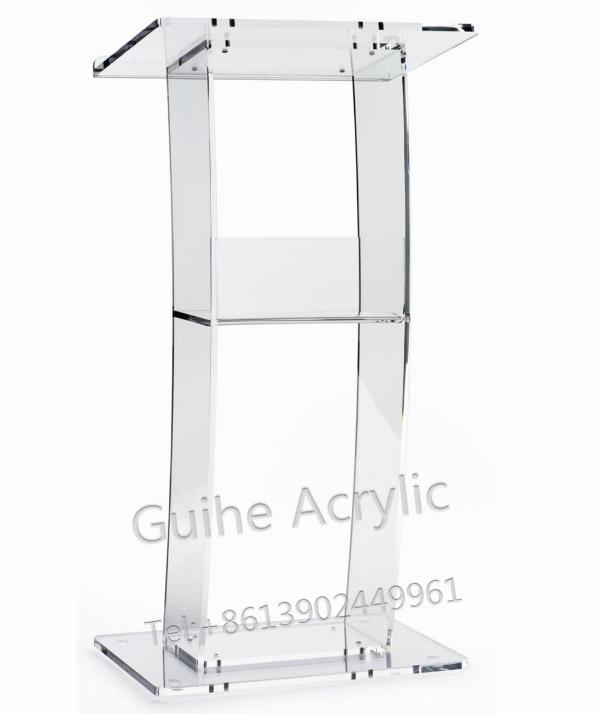 GUIHEYUN Acrylic Single Shelf Podium Lectern Acrylic Podiums, Clear Pulpits, And Lecterns
