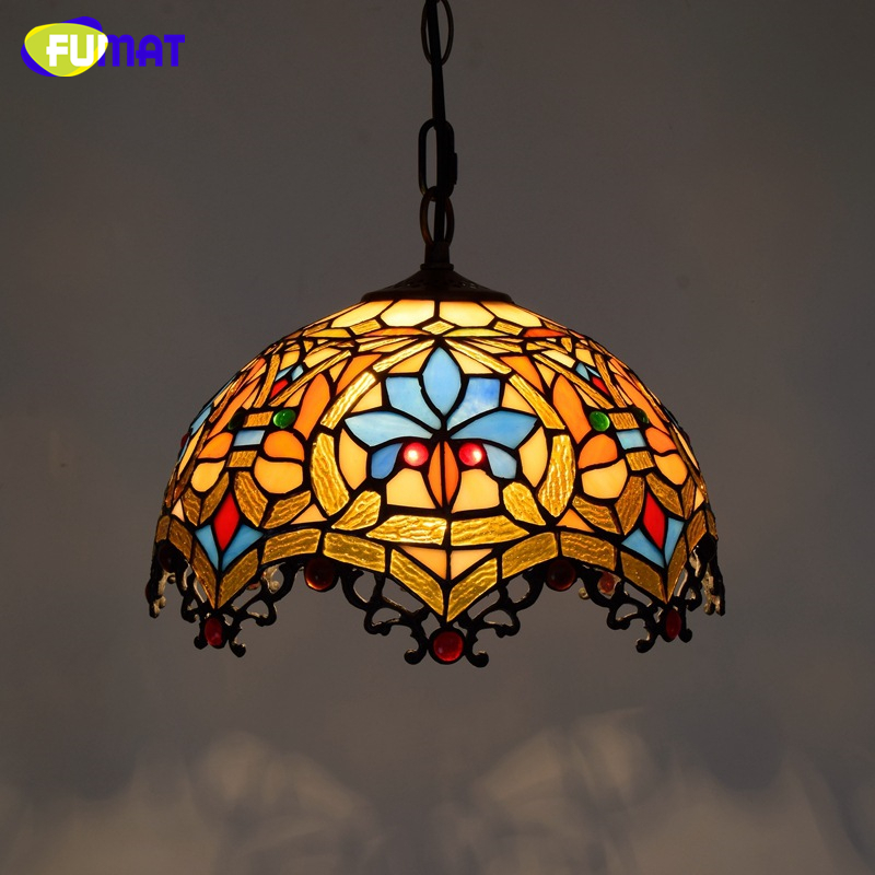 FUMAT Creative Tiffany Stained Glass Pendant Lights Restaurant Dining Room Baroque Art Lighting For Living Room LED Pendant Lamp tiffany mediterranean style natural shell pendant lights art creative stained glass night light bar balcony home lighting pl657