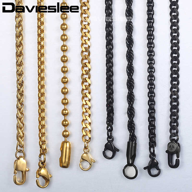 Chain Necklaces For Men Stainless Steel Black Gold Rolo Wheat Box Snake Mens Necklace Chains Classic Gift 1-5mm 18-26inch LKNN3
