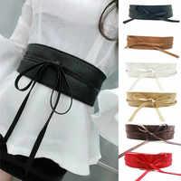 2019 Fashion Lace Up PU Leather Women Wide Corsets Cummerbunds Strap Belts Girl High Waist Slim Girdle Belt Ties Bow Dress Shirt