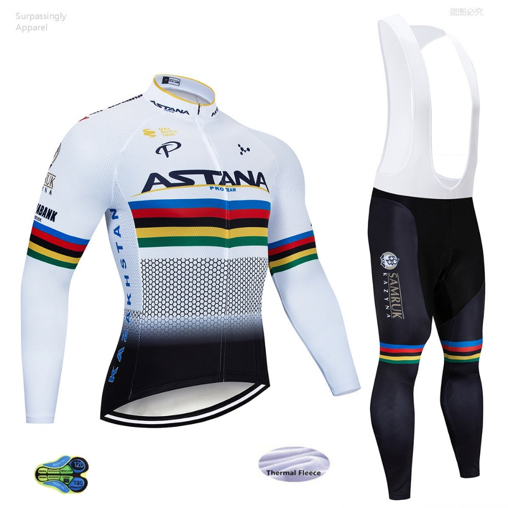 2019 Pro ASTANA cyclisme Jersey ensemble hiver thermique polaire à manches longues course vtt ensemble Maillot vélo vêtements Ropa Ciclismo porter 12D