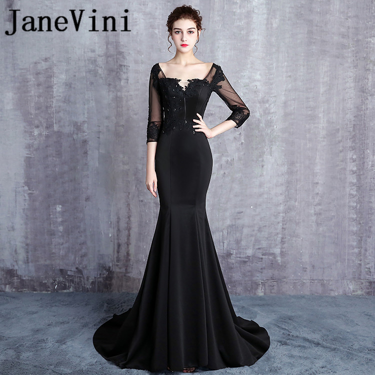 JaneVini Black Mermaid Long   Bridesmaids     Dresses   with Sleeves Satin Sexy Backless Beaded Lace Appliques Sweep Train Robe Soiree
