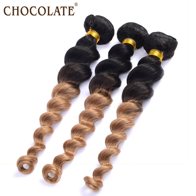 Chocolate Hair Weave Cheap 3bundle Deals Malaysian Ombre Loose Wave
