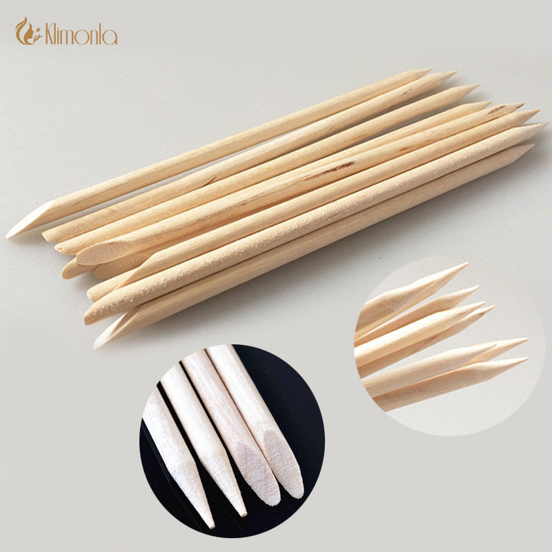 New 100pcs/lot Double-ended Nail Art Wood Stick Remover Pedicure Manicure Cuticle Pusher Nail Polish Beauty Accessories Tools