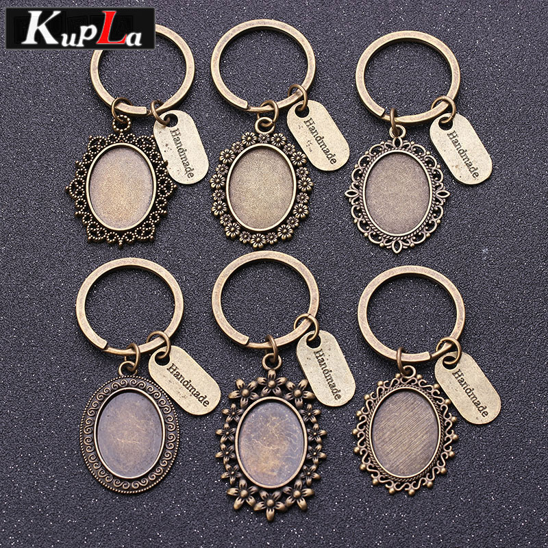 Vintage Bronze Key Chains 18*25mm Oval Cabochon Setting DIY Jewelry Making Letter Keychain Handmade Key Chains For Women