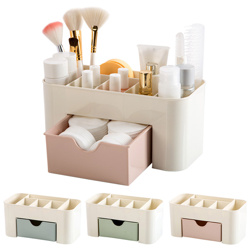 1PC Plastic Cosmetic Storage Box with Small Drawer Jewelry Sundries Desk Container Makeup Storage Organizer MYDING
