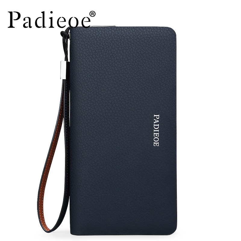 Padieoe Luxury Brand Fashion Men Clutch High Quality Long Wallet for Male Genuine Leather Men's Card Holder Phone Pocket Casual padieoe new design metal wallet for male famous brand fashion men s business purse high quality men genuine leather card holder