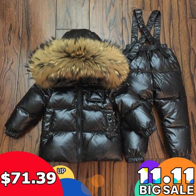Rusia invierno espesar abajo chaqueta niños abrigo de invierno + traje de  mono niños Sudadera con 132237616d02b