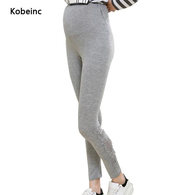 Graça Cuidados Barriga Maternidade Calças Leggings de Renda Ocos Para As Mulheres Grávidas Elásticas Cor Sólida Pantalon Calças Plus Size M-XL