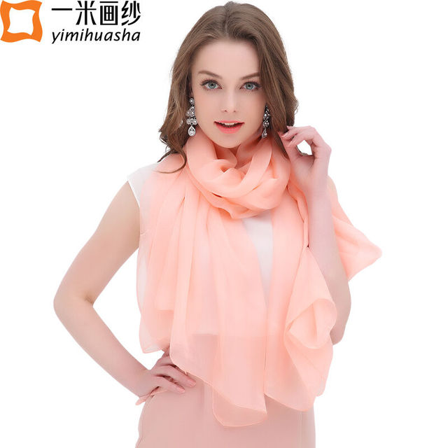 2017 Pure silk scarf luxury brand for women spring shawl wraps foulard femme smooth touch multi candy color long size 180*110 cm