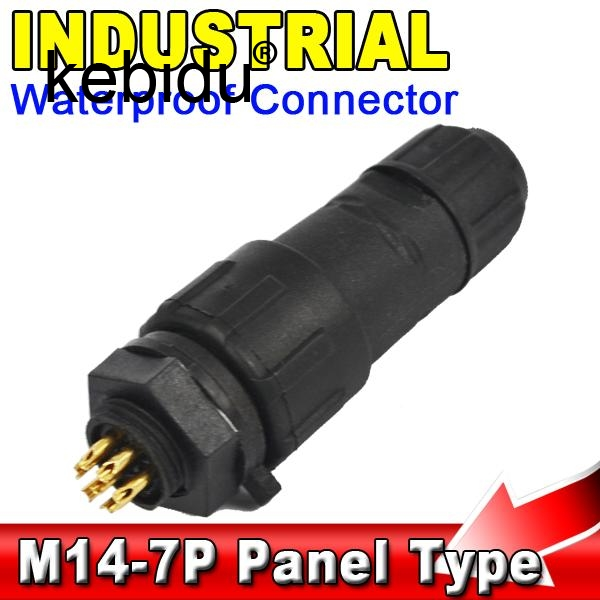 Hearty 10pcs/lot M14 7 Pin 7 Pole Industrial Ip68 Waterproof Connector Cable 7pin Panel Mount Wire Connector Adapter Plug For Led Lamp Computer & Office