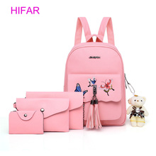 4Pcs/ set Pink Black Women Backpack Butterfly Embroidery Zipper Flap Teenage Girls PU Leather Backpack Mochila Feminina 2019 недорого