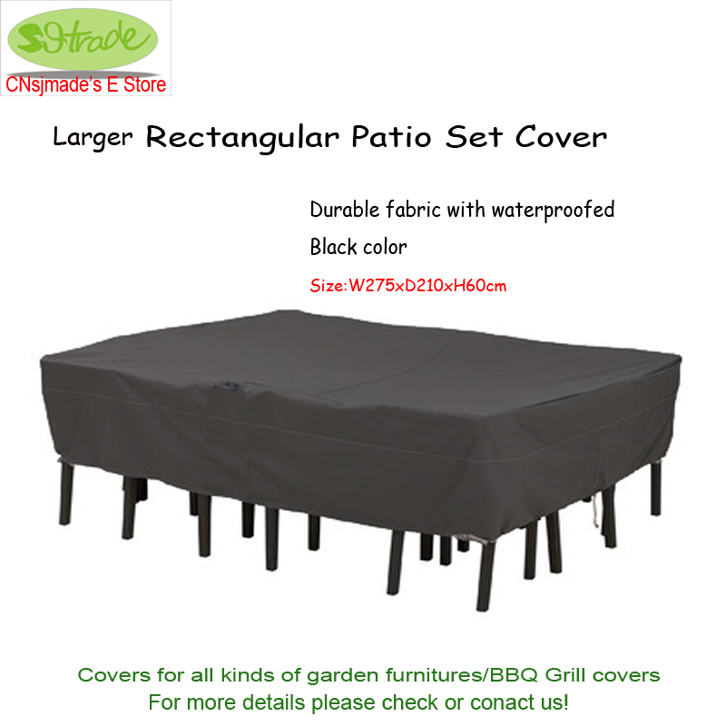 Larger premium rectangular patio set cover 275x210x60cm , Black color, waterproofed Durable Oxford fabric ,Free shipping