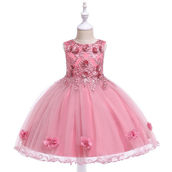amzbarley girls dresses prom ball gown kids lace tulle wedding party dresses girls pageant formal dress 5 14 years 2019 A-Line Tank Pink Sleeveless Lace Appliques  Girls Pageant Dresses First Communion Dress Little Girls Prom Ball Gown