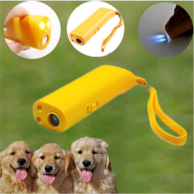 Pet Dog Repeller Anti Bark Dog Training Device 3 in 1 LED Ultrasonic Dog Stop Barking Trainer Without Battery(China)
