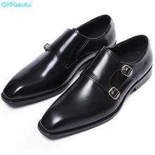 QYFCIOUFU 2019 New Fashion Brand Double Monk Strap Shoes Business Men's Shoes Black / Brown Genuine Leather Elegant Office Shoes
