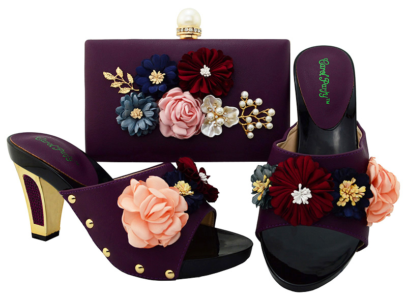 Newest D.Purple Italian Shoes with Matching Bags African Combining Shoes and Italian Bags in Women Shoes High heel BL001