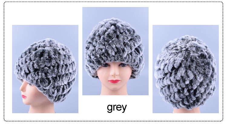 24223ac10c7 Women Genuine Knitted Rabbit fur hats for women Real Fur Beanies Rex Fur  Pom poms snow cap Winter fur hats lady LQ11172