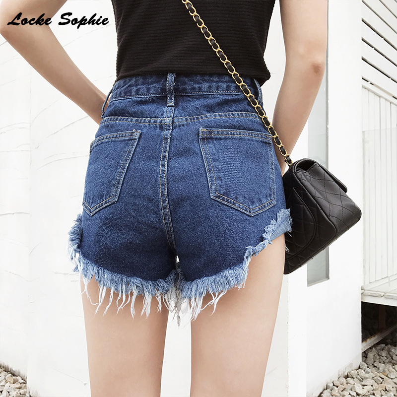 1pcs High Waist Sexy Womens Super Short Jeans Denim Shorts 2019 Summer Denim Hole Tassels Shorts Ladies Skinny Super Short Jeans