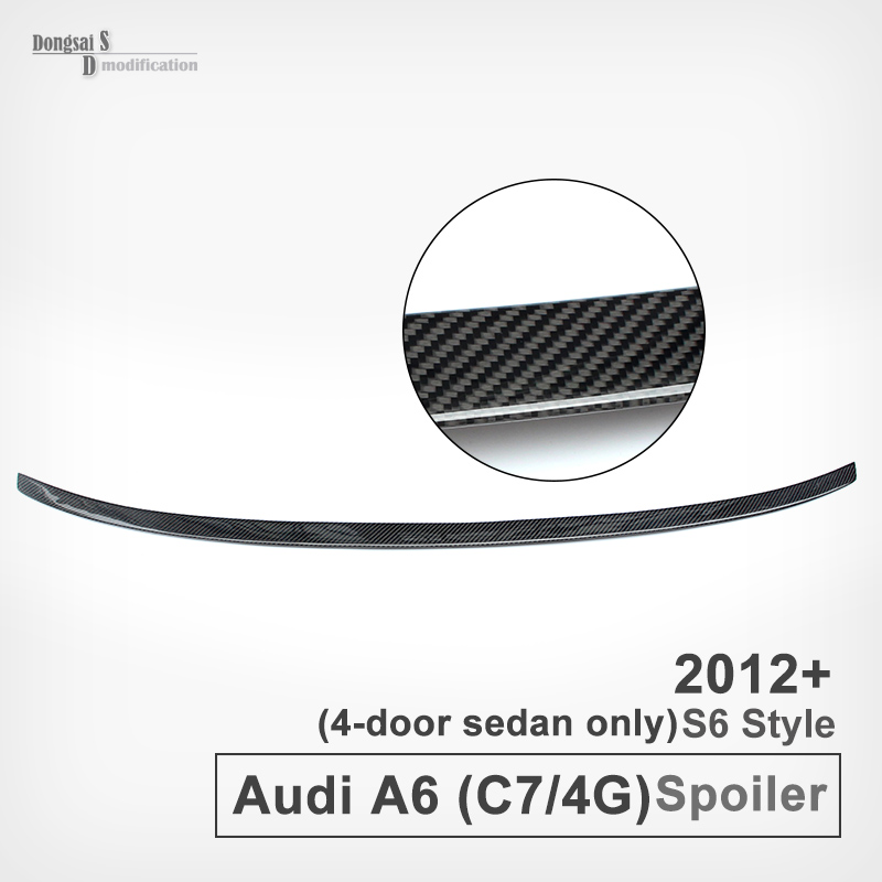 A6 S6 Style Carbon Fiber Spoiler Rear Trunk Wing For Audi A6 C7 / 4G 2012 - IN Fit For 4-Door Sedan Only wiper blades for audi a6 c7 4g 26