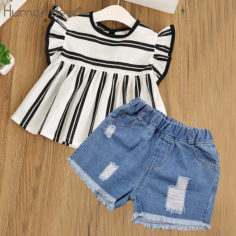 Humor Bear Girls Clothes 2018 Brand Girls Clothing Sets Kids Clothes Children Clothing Toddler Girl Tops+ Pant 2-6Y 2pcs set toddler kids girls clothes wild heart long sleeve t shirt tops pant outfit cute girl children suit 1 6y
