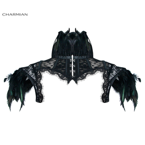 Image 1 - Charmian Womens Victorian Gothic Black Feather High Neck Cape Sheer Floral Mesh Corset Shrug