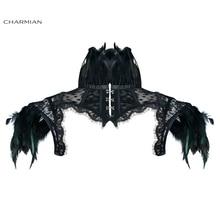 Charmian damski wiktoriański gotycki czarny piórko na szyję Cape sheer kwieciste siatkowe gorsety wzruszające ramionami