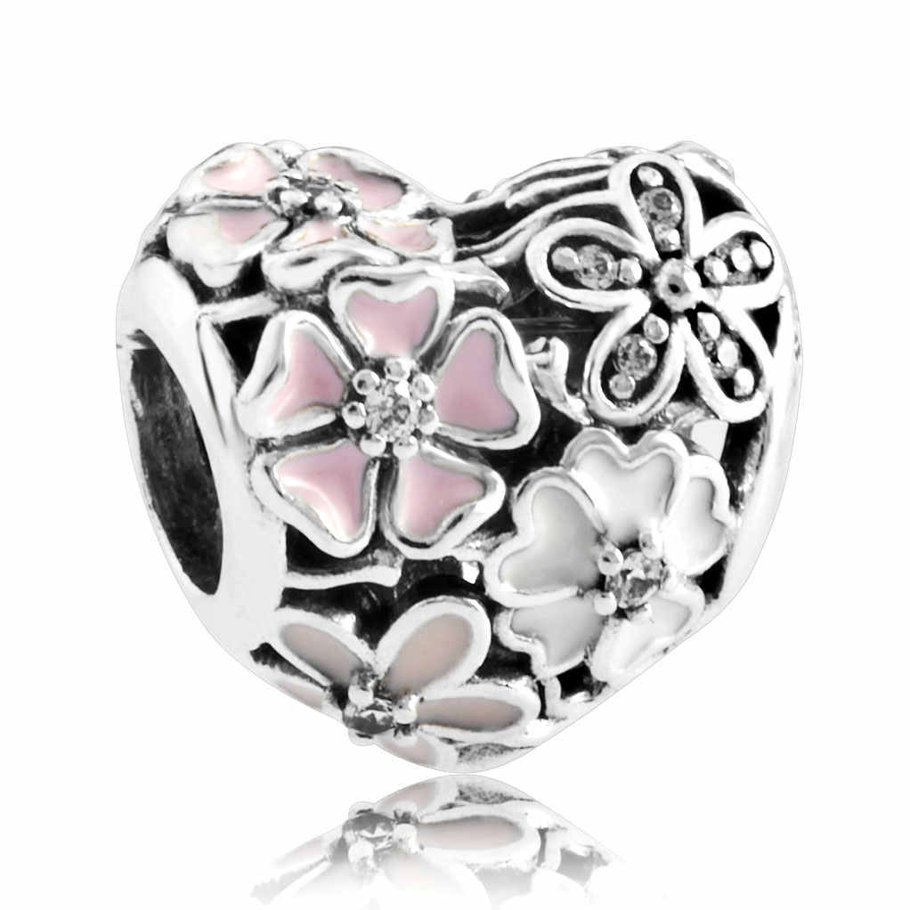 86e2288d3 ... Authentic 925 Sterling Silver Enamel Openwork Forget-me-not Flowers  With Crystal Beads Charm ...