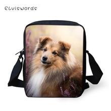 ELVISWORDS Fashion Women Messenger Bag Sheltland Sheepdogs Womens Shoulder Crossbody Bags Cute Animal Pattern Travel Mini Purse