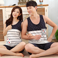 Casais pijamas de verão de algodão colete calções teste padrão da âncora da marinha do vento listrado ocasional dos homens terno agasalho mulher