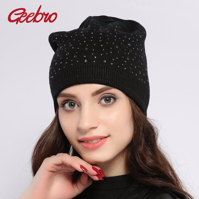 a8880bf3dda Geebro Women s Winter Cashmere Hats Rhinestones Hat for Women Female Real  Wool Knitted Beanie Black Beanies NEW YEAR Sale JS272