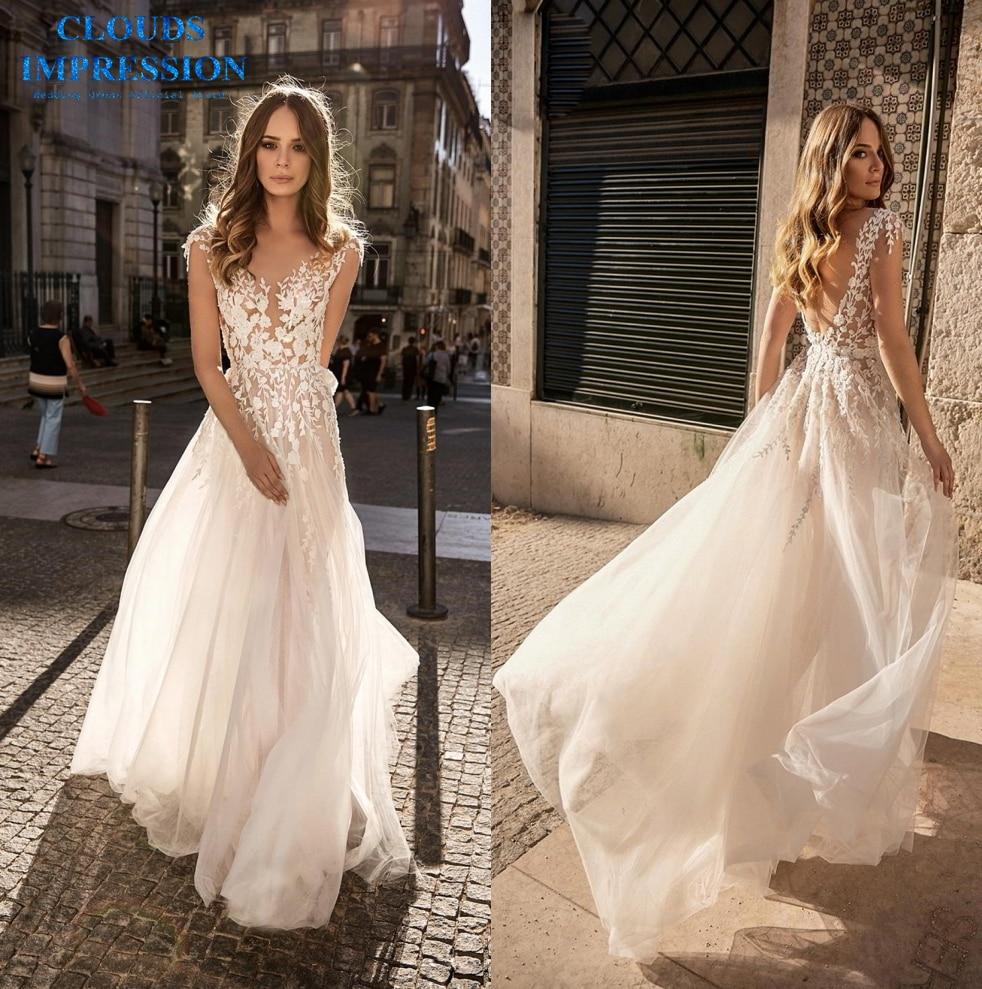 Sexy Lace 2019 Beach BOHO Wedding Dress Romantic Vestige De Noiva Bride Dress White Bridal Gown