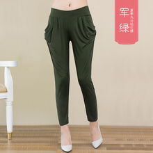 283ae785ecf209 Europe Satin Side White Stripe Elastic Waist Casual Ankle Length Pants  Female Pull Rope Leisure Harlan Pants Trousers