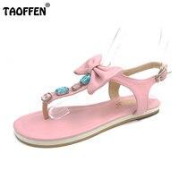 Taoffen/Бесплатная доставка качество сандалии на плоской подошве модная женская одежда пикантные женская обувь p14052 Лидер продаж; европейские ...