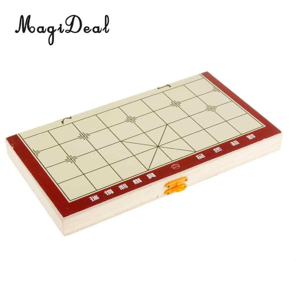MagiDeal портативный 4,8x13,6x3,3 см складной деревянный традиционный шахматный дорожный набор шахматная игра детский подарок забавные спортивные развлечения