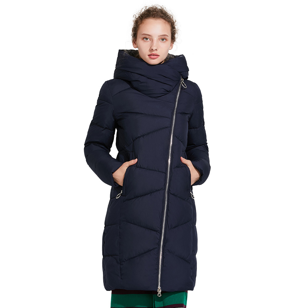 ICEbear 2017 Fashionable winter women's coat with windproof sleeves winter stylish jacket of medium length 17G6102D unisex winter trapper hat with windproof mask