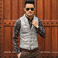 Vintage Мужчины Моды Жилет Верхней Одежды Мужчин Случайных Пальто Slim Fit Печатных Осень Мужские Жилеты A2627